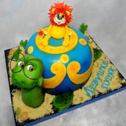 Торт львенок на черепахе
