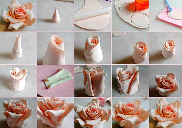 Фигурки роз из мастики