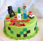 Украшаем торт фигурками из мастики по игре Майнкрафт
