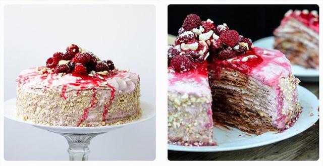 Блинный торт с малиной и орехами