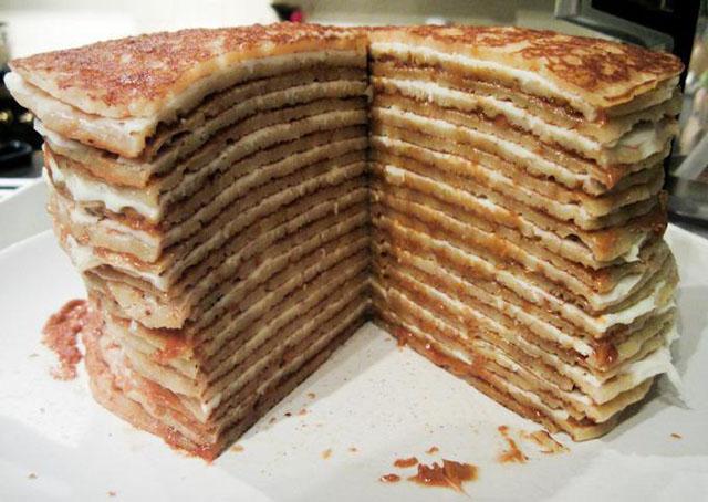 Торт из блинов на тарелке