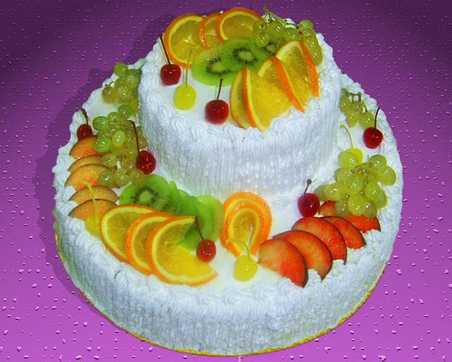 Торт с апельсином и киви
