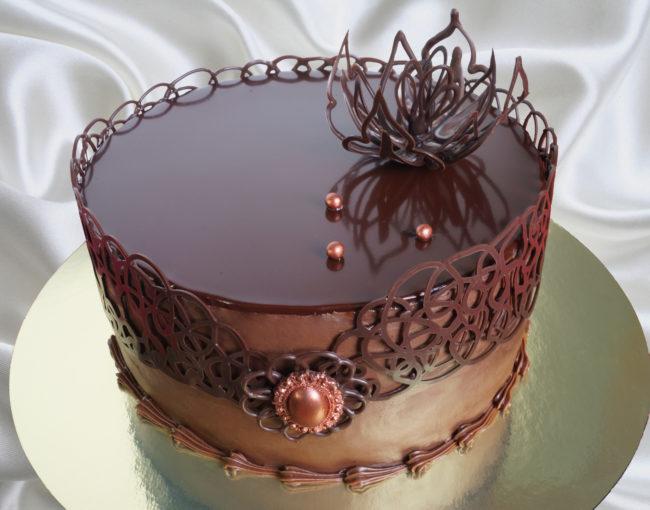 сделайте как украсить торт шоколадным узором фото конкурс