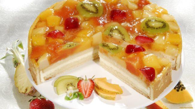 Торт желейный с фруктами