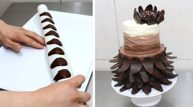 Как украсить торт шоколадом