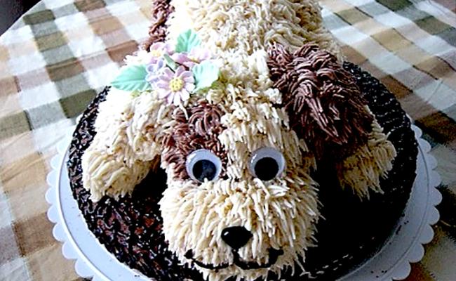 торт в виде собаки на новый год
