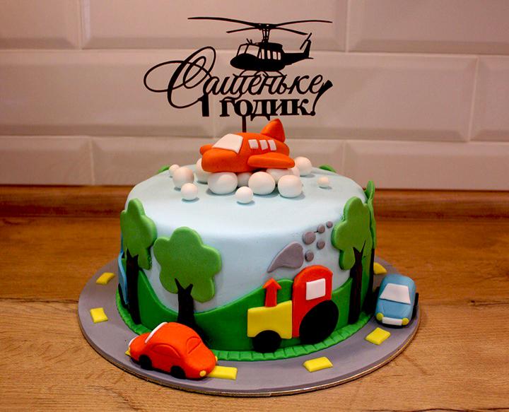 мастичный тортик на годик мальчику