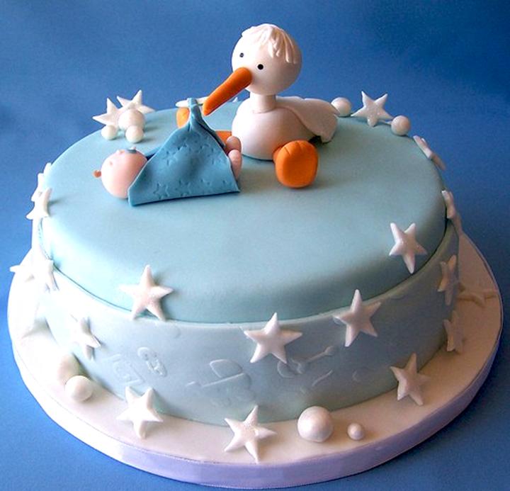 торт с аистом на рождение