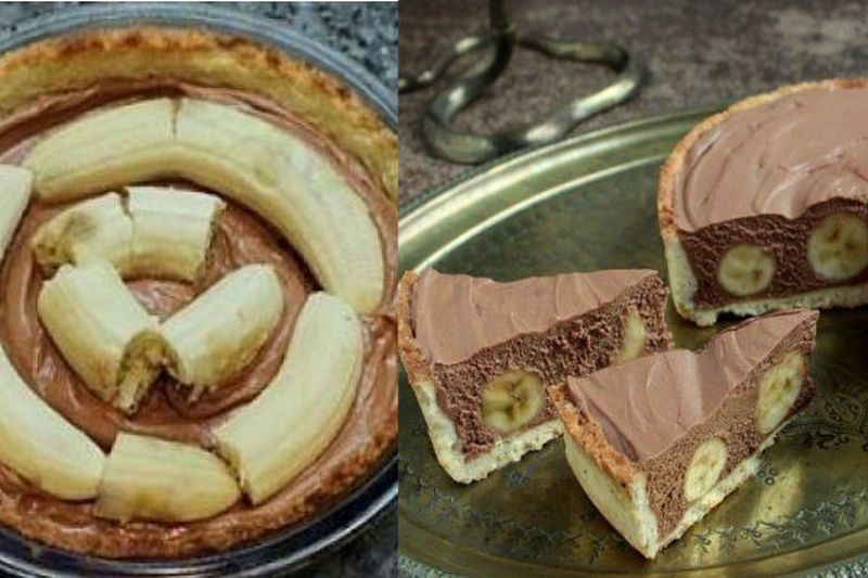 Торт с шоколадным муссом и бананами
