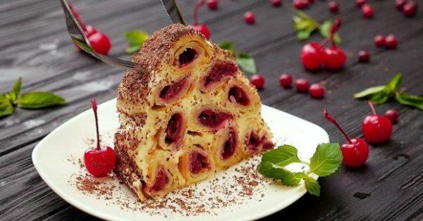 Быстрый рецепт торта Изба с вишней