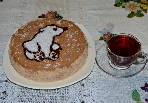 Торт «Мишка на Севере» с пралиновым кремом
