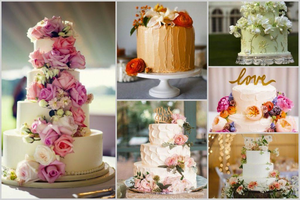 Шоколадный свадебный торт с живыми цветами